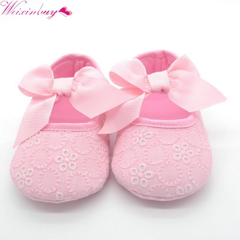 White Bowknot Baby Girl Lace Shoes Toddler Prewalker Anti-Slip Shoe Simple Baby Shoes M2
