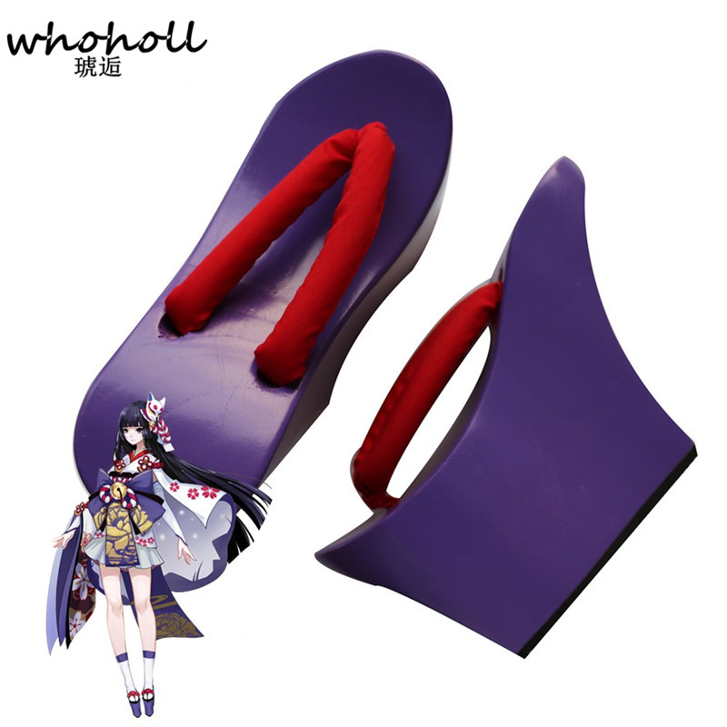Women sandals Heel flip-flops Onmyoji Anime Cosplay costumes shoes 2017 Summer Sandals Japanese Geta Clogs for female WMGT-180 cosplay geta japanese samurai clogs wood sandals clogs shoes flat wood heel square toe shoes summer plank slippers sandals