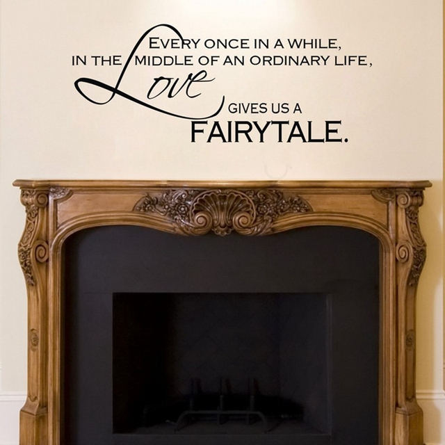 Love Gives Us A Fairytale  Wall Stickers Bedroom Decor ,vinyl Art Fireplace  Wall Decal