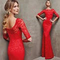 New Elegant Red Lace Half Sleeve Robe De Soiree Evening Dresses Custom Size Boat Neck Pageant Dresses Mermaid Prom Dresses
