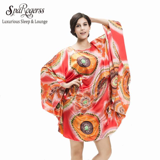 SpaRogerss Mulheres Pijamas Promoção Top 2017 Plus Size Casa Roupas Estilo Solto Faux Seda Roupão Camisola Das Mulheres 10266