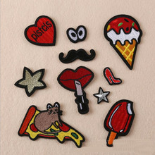 Eat Food Small Star Repair Patch Embroidered Iron On Patches For Clothing Close Shoes Bags Badges Embroidery DIY