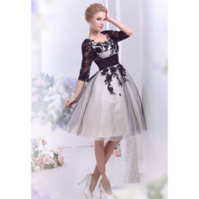 Short Black Wedding Dress vestido de novia corto Tulle A-Line Lace Appliques Boho Wedding Dress Knee Length Bridal Dresses