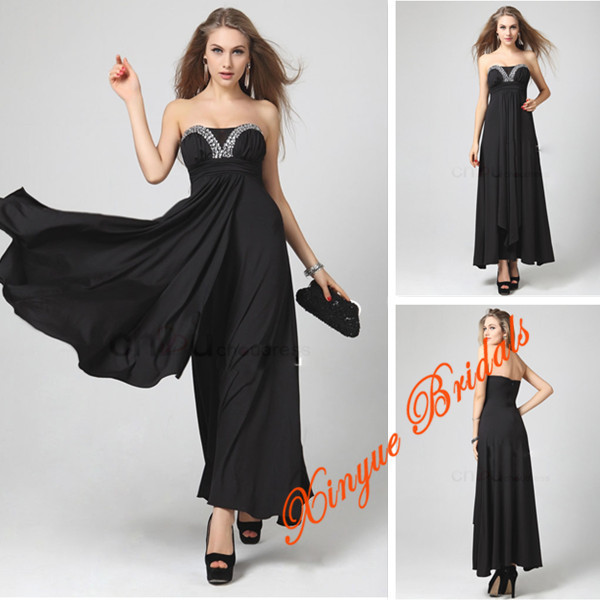 Affordable Discount Strapless Beading Black Semi Formal Summer Long