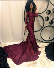 2017 Sexy Abendkleid für Schwarze Frauen Burgund Weinrot Abendkleider Mit Langen Ärmeln Neue Ankunft Preiswerte Abschlussball-kleid kleid