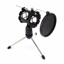 Foldable Microphone Arm Stand Boom Arm Microphone Tripod Stand Holder Shock Mount Mic Holder Clip Mic Bracket with Filter