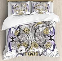 Skull Duvet Cover Set Pisces Fish with Lotus Flowers Traditional Eastern Symbolic Spiritual Religious 3 Piece Bedding Set