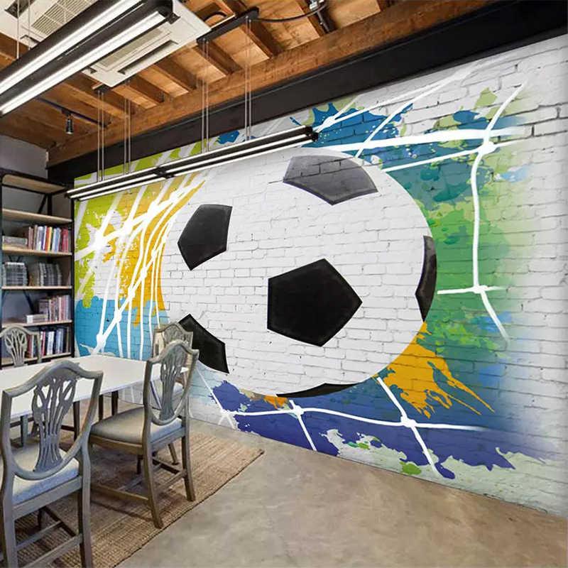 مخصص جدارية خلفية 3D الكرتون لكرة القدم الصورة طلاء جدران الصبي غرفة نوم مطعم مقهى حائط الخلفية أوراق قطرة الشحن