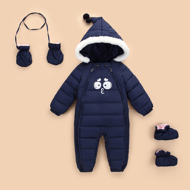 Mother & Kids New 2019 Russian Winter Children Down Warm Jumpsuit Baby Romper Thickened Big Fur Collar Boy Girl Rompers Kids Hooded Ski Sets