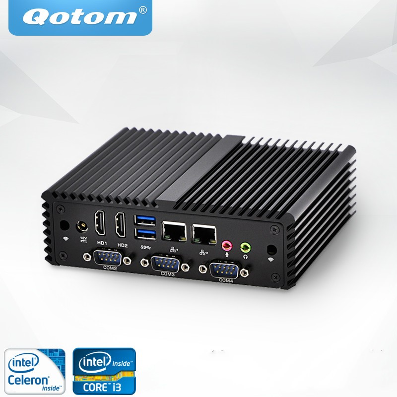 Free Shipping Qotom Mini PC Celeron Core I3 I5 I7 Dual Lan 4*COM Fanless X86 1080P DC 12V Barebone Industrial Computer core i5 industrial pc 6 com 2 lan qotom q350p core i5 4200u processor 3m cache up to 2 60 ghz x86 fanless computer