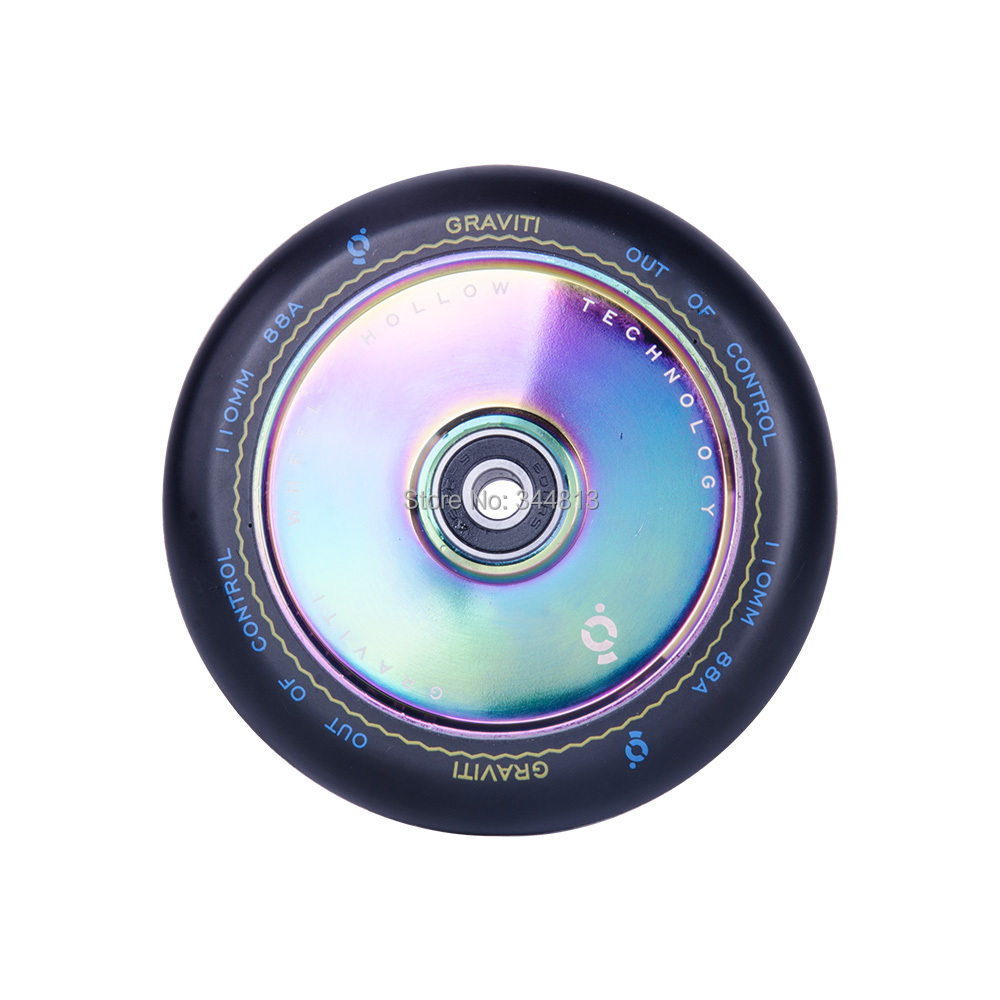 Free Shipping 2 Metal Core Scooter Wheels 110mm Rainbow Hollow With Abec 9 Bearings For Graviti