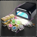 Nails full set Manicure kit 36w Black UV lamp + 12 glitter uv gels + 12 pieces brushes FreeShipping