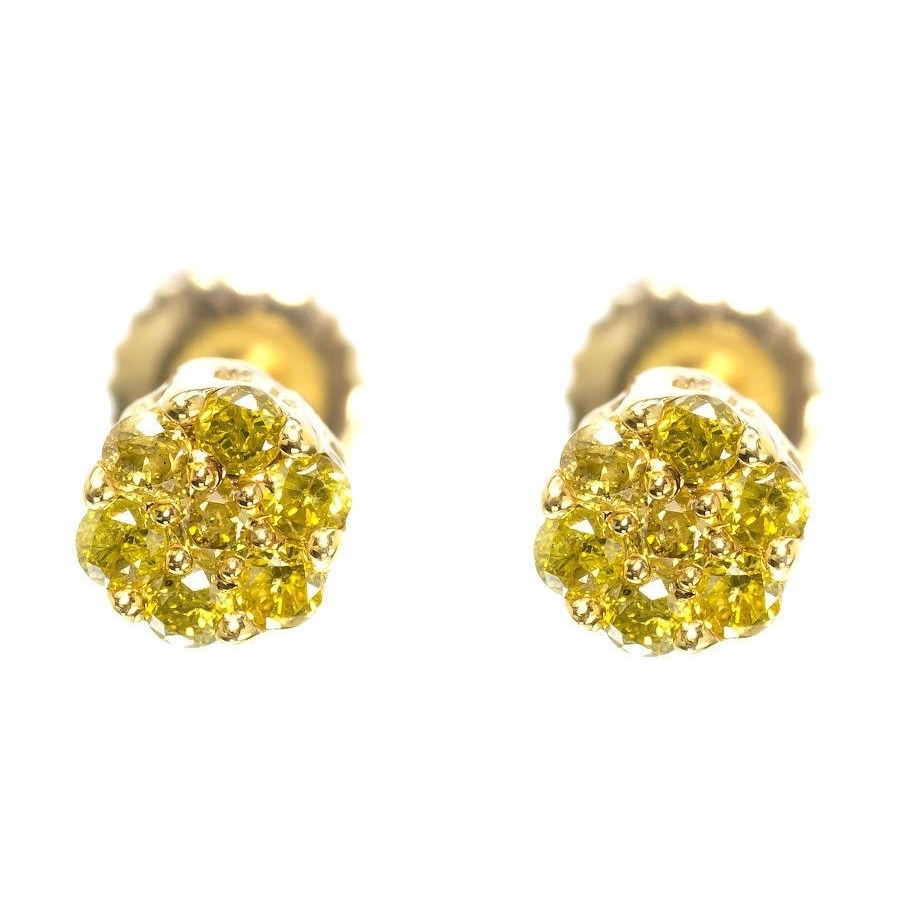 10k Yellow Gold Mens Las Round Canary Diamond Flower Cer Studs Earrings In From Jewelry Accessories On Aliexpress Alibaba Group