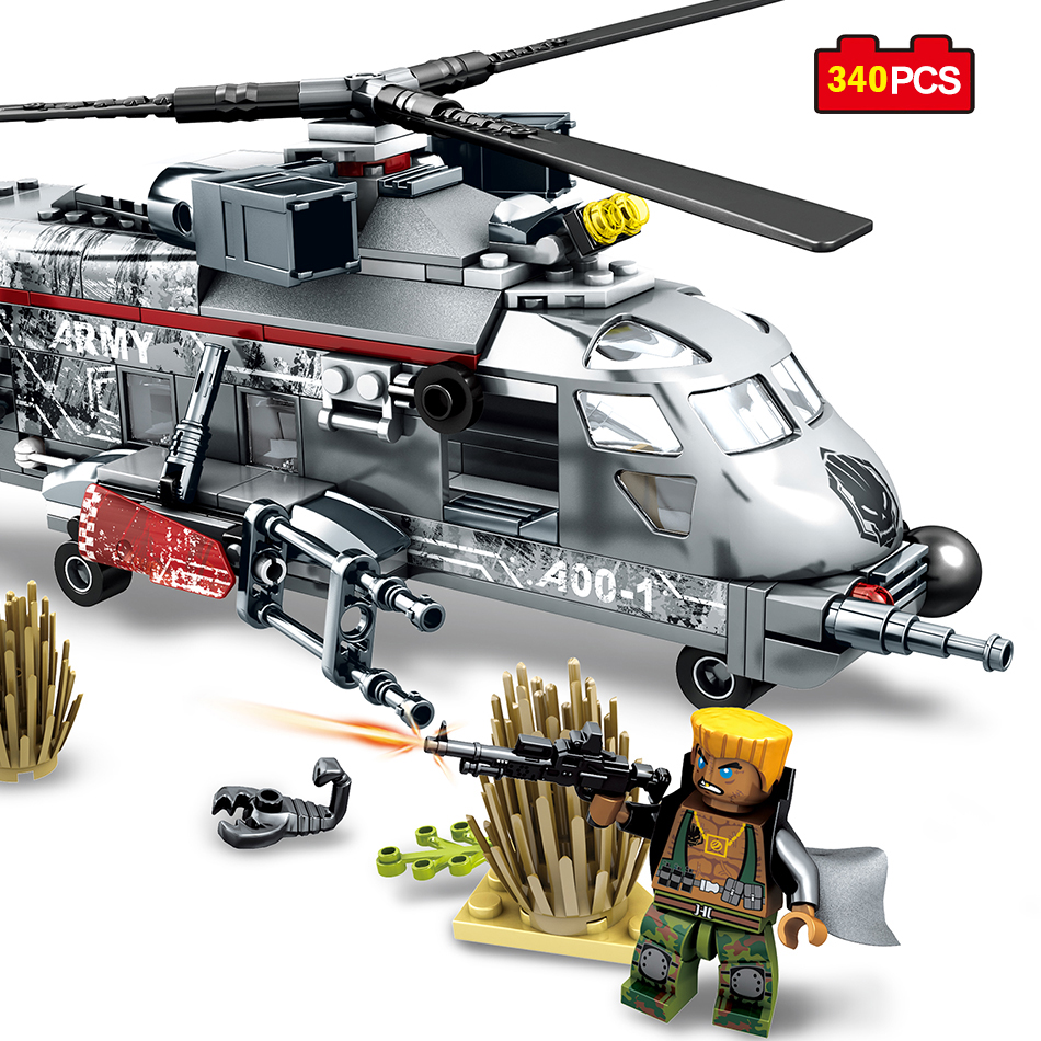 340pcs Military Helicopter Special Forces War Building Blocks Army Soldiers Figures Compatible Legoing Military Bricks Toys Kids new model 340pcs military helicopter special forces war building blocks set army soldiers figures bricks toy for lepins children