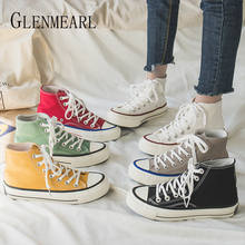 Woman Flats Canvas Shoes Women Casual Shoes Brand Sneakers Lace Up Autumn High Tube Shoes Female Round Toe Colourful Plus Size D