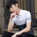Camisas Dos Homens do verão de Manga Curta Patchwork Listrado Fino Azul Polegadas Estudantes Camisa Button-down Tipo Fino Branco Safira 5121
