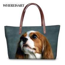 WHEREISART Women Handbags Cavalier king Charles Spaniel Design Large Tote Shoulder Bags for Ladies Girls Luxury Top-handle Bag