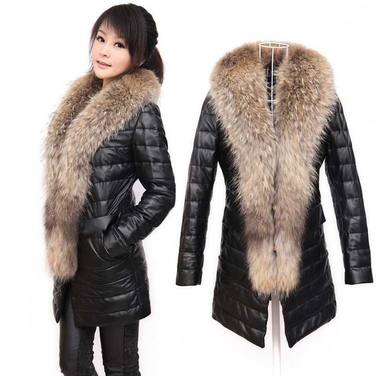 Online Shop faux leather fur coat with raccoon fur collar Luxury ...