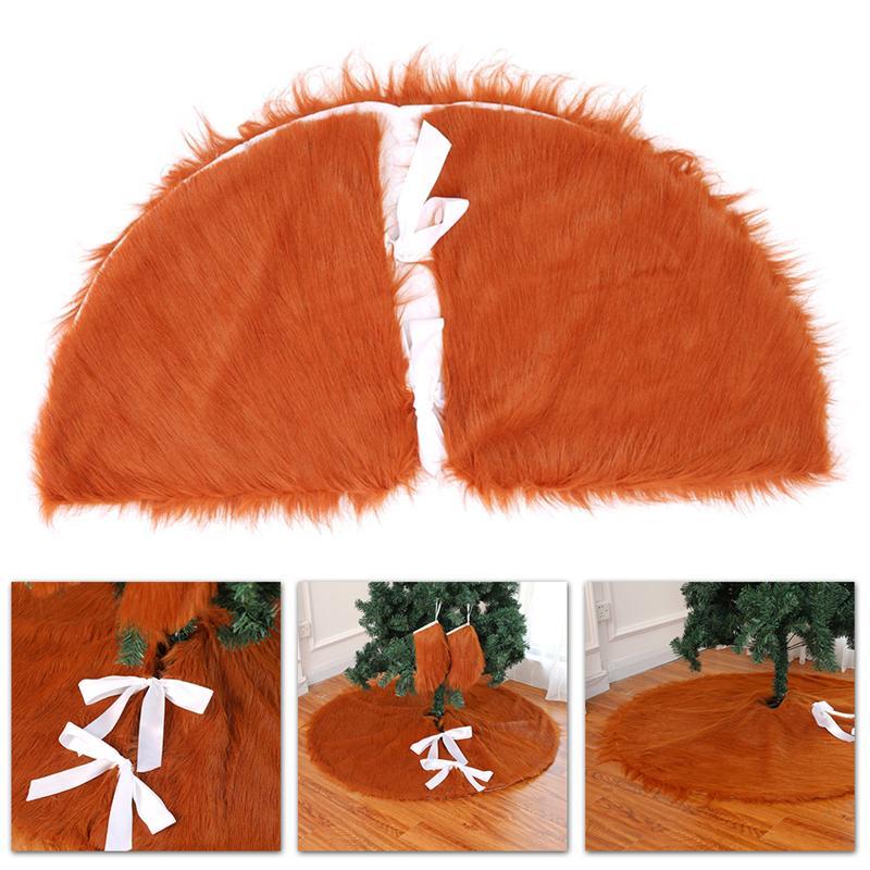 122CM Creative Christmas Tree Skirt Plush Brown Fabric Mats Tree Skirt For Tree Decorating Party Christmas
