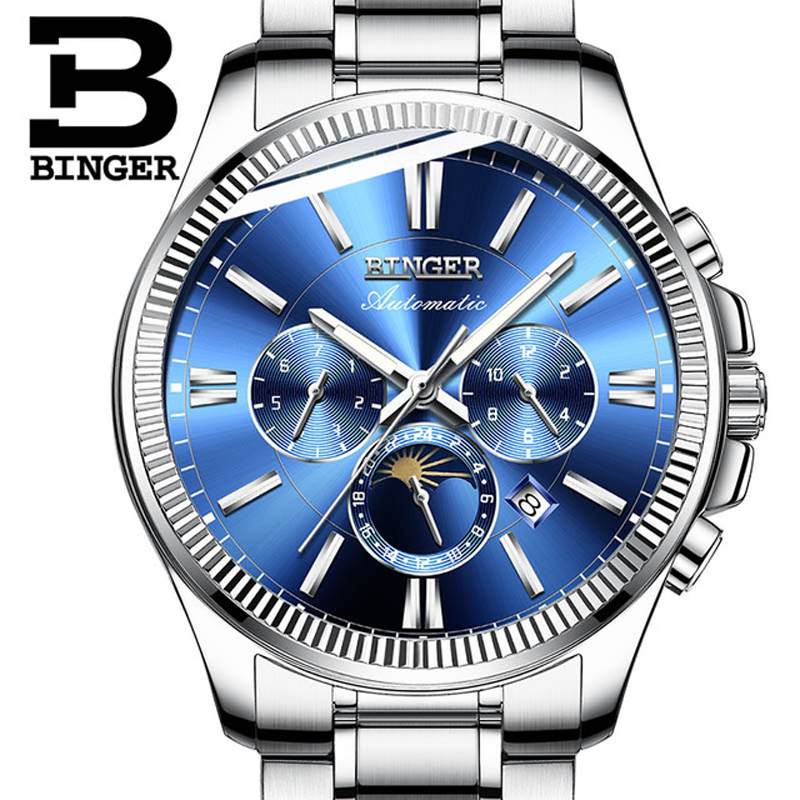 BINGER Men Automatic Mechanical Watch Luxury Fashion Brand Stainless Steel Man Multifunctional Luminous Waterproof Watches tevise fashion mechanical watches stainless steel band wristwatches men luxury brand watch waterproof gold silver man clock gift