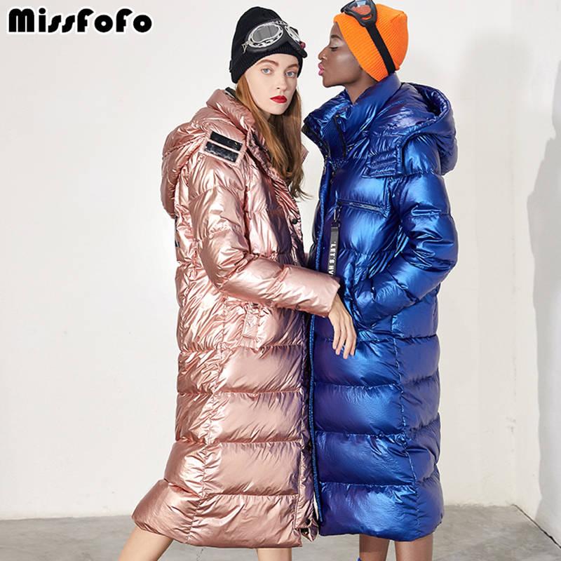 MissFoFo 2018 New Winter   Down     Coats   Long Winter Hood Parka 90% White Duck   Down   Slim Solid Women   Coat   S-XL