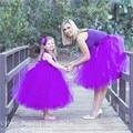 Chegam novas Cor Roxo vestido de Baile Vestidos de Baile 2017 Personalizado feita De Alta Qualidade Puffy vestido de Mãe e Filha Vestido Curto Praty vestidos