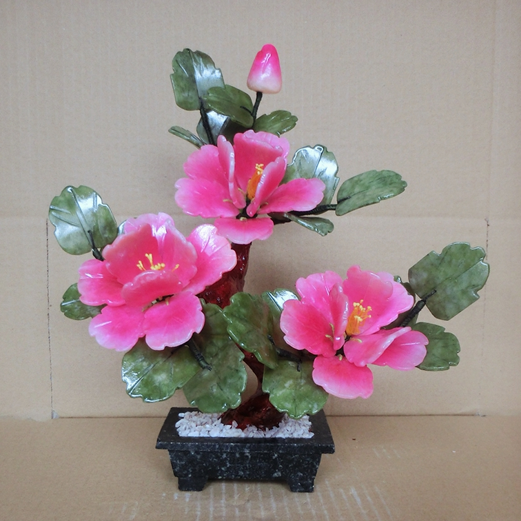Natural jade Peony Flower Bonsai Home Furnishing jewelry ornaments creative living room wine gifts 5 Peony xinqite home furnishing ornaments product suspension globe round 3 inch 85mm blue english version of the spot