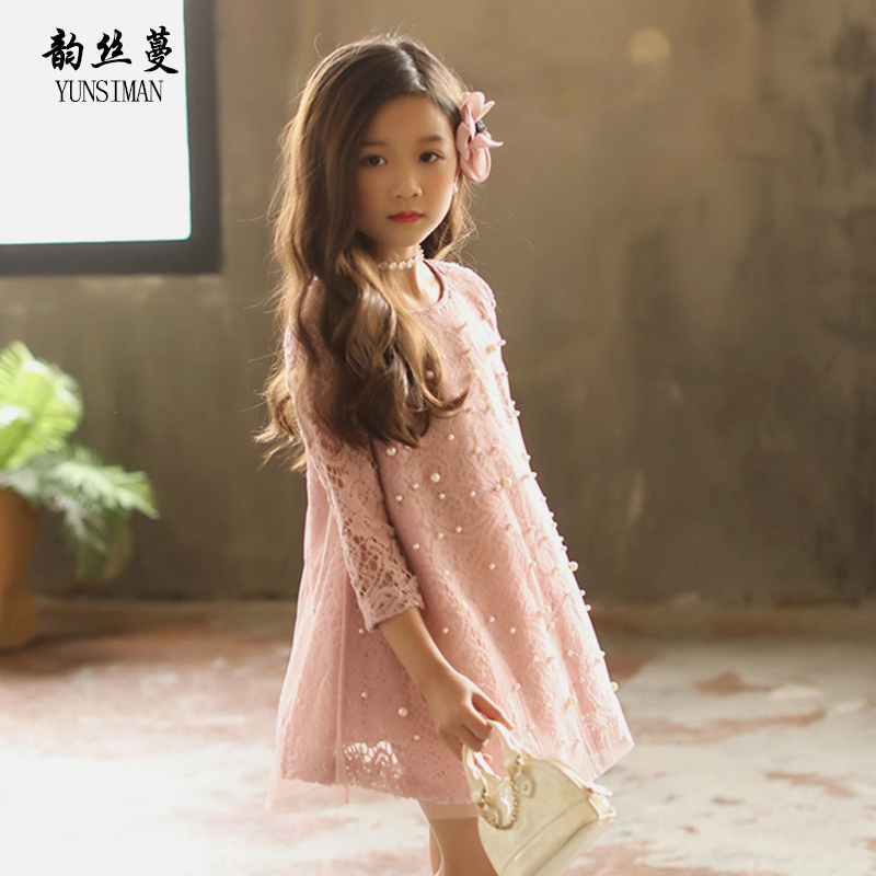 Spring Autumn Big Girl Lace Dress Size 6 8 10 12 to 14 Years Pearls O neck New White Gray Lace Mini Dresses Kids Clothing 8C03A