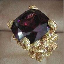 Anillos Qi Xuan_Fashion Jewelry_Big темно-фиолетовый Роскошные коктейльные кольца_ позолоченные кольца на палец из розового золота_ прямые продажи с фабрики