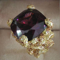 Anillos QI Xuan_Fashion Jewelry_Big темно фиолетовый Роскошные коктейли Rings_Plated розовое золото палец Rings_Factory непосредственно продаж