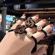 Japanese Korean Golden Headwear Fashion Jewelry Crown Smiling Face Hair Rope Beads Diy Accessory Loose