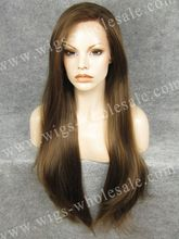 N22 Extra Long Straight Wig Natural Brown Wig Synthetic Lace Front Wig