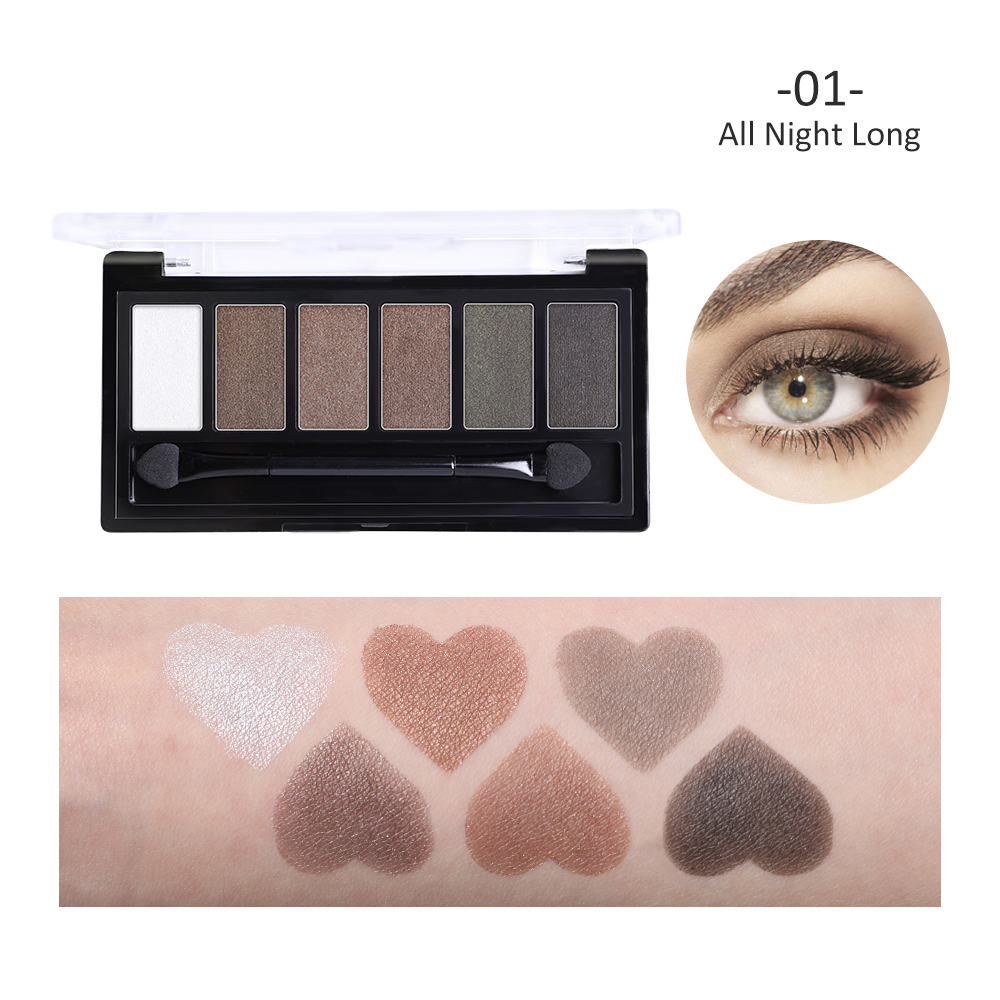 BONNIE CHOICE 6 Colors Matte Eye shadow Pallete With Brush Makeup Glitter Waterproof Cosmetic Long Lasting Shimmer Smokey Eye in Eye Shadow from Beauty Health