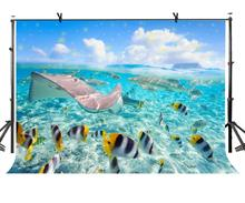150x220cm Underwater World Backdrop Blue Ocean Photography Background for Camera Photo Props