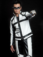 2014 New fashion Spring Autumn black and white color block Jacket men casual dance punk zipper faux leather jackets