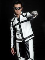2014 Nueva moda de Primavera y Otoño Chaqueta de los hombres del bloque del color blanco y negro de baile ocasional punky de la cremallera chaquetas de cuero de imitación