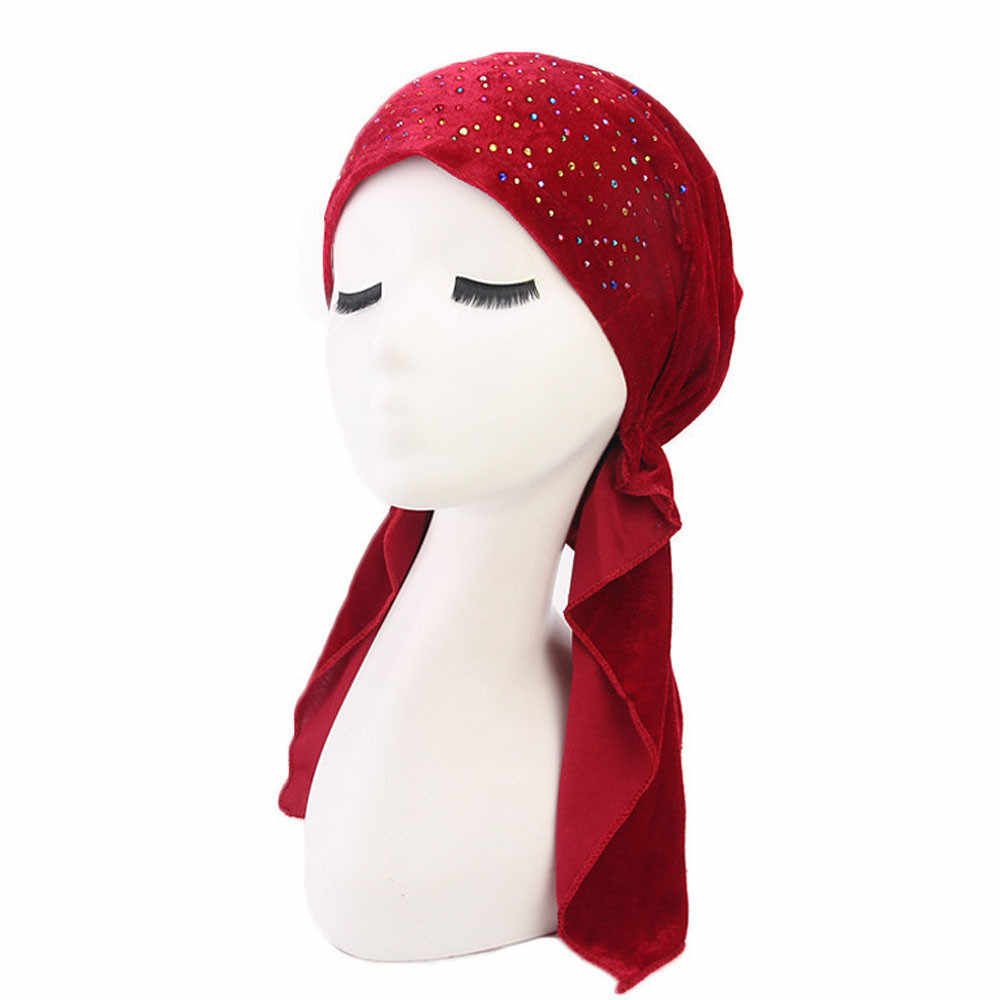 Muslim Turban Women Headband Ruffle Cancer Chemo Hair Rhinestone Hats Beanie Bandanas Scarf Head Wrap Headwear Cap PJ0906