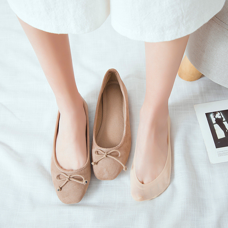 5 Pairs Women Invisible No Show Nonslip Loafer Boat Liner Low Cut Cotton SocksAB