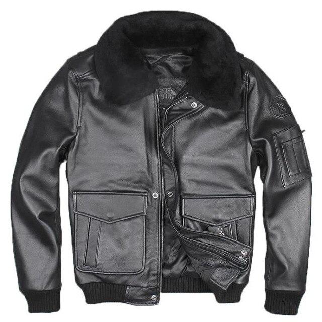 2017 New USAF Men Genuine Pilot Leather Jacket Black Fur Collar Real Cowhide Plus Size 3XL Men Winter Russian Coat FREE SHIPPING