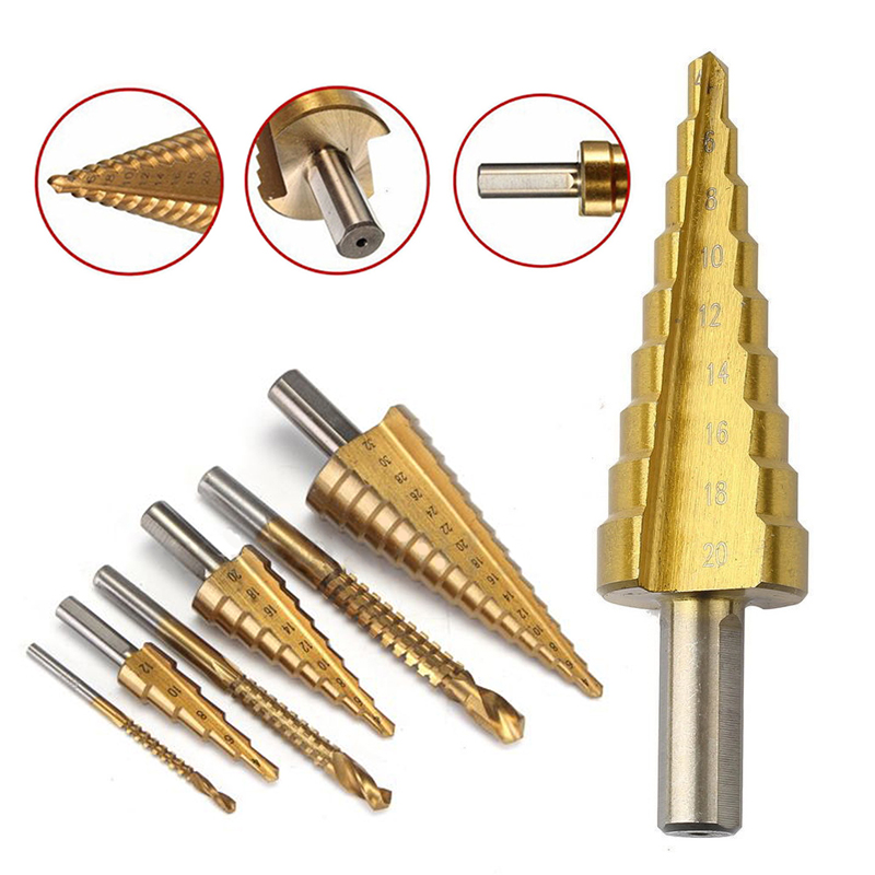 6Pcs HSS Steel Titanium Coated Step Drill Bit Golden Hole Cutter Metal Drilling Woodworking Power Tools Set Mayitr 4-32mm 99pcs mayitr hss drill bits set titanium coated woodworking drilling tools 1 5mm 10mm