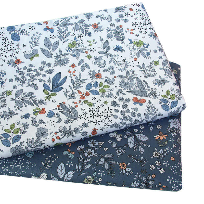 Syunss Navy Floral Printed Twill Cotton Fabric DIY Tissue Patchwork Telas Sewing Baby Toy Bedding Quilting Tecido The Cloth