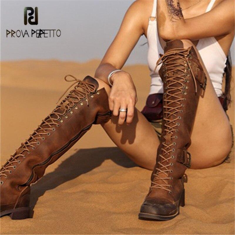 Prova Perfetto Retro Botas hasta la rodilla de mujer zapatos de goma de plataforma de encaje para mujer Botas de montar de tacón alto grueso Botas mujer
