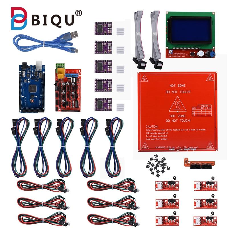 Kit de bricolage imprimante 3D Reprap rampes 1.4 + Mega 2560 + Heatbed mk2b + 12864 contrôleur LCD + DRV8825 + butée finale mécanique + câbles
