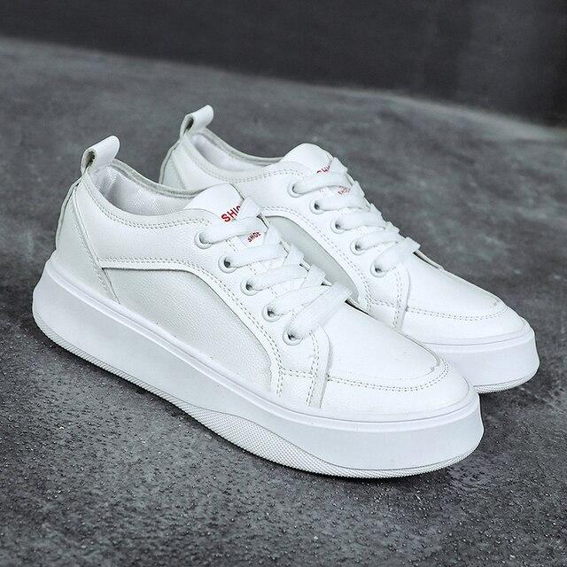 Women Sneakers 2018 Fashion Breathble Vulcanized Shoes Women Pu leather  Platform Shoes Women Lace up Casual 40be7c309e69