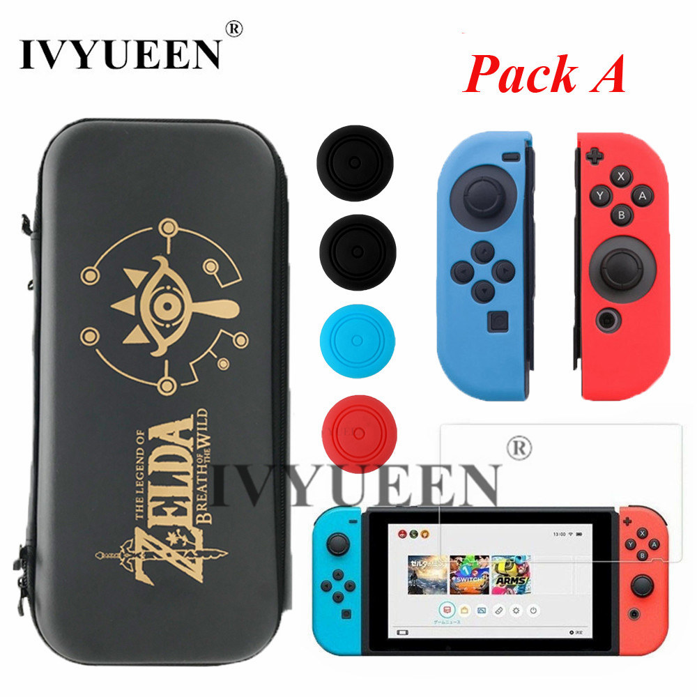 IVYUEEN for Nintend Switch NS Console Carrying Storage Bag Case Tempered Glass Screen Protector Joy Con Silicone Skin Caps ivyueen 2 pcs for joy con silicone joystick thumb stick grip cover case analog caps for nintend switch ns joy con controller