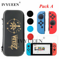 IVYUEEN For Nintend Switch NS Console Carrying Storage Bag Case Tempered Glass Screen Protector Joy Con