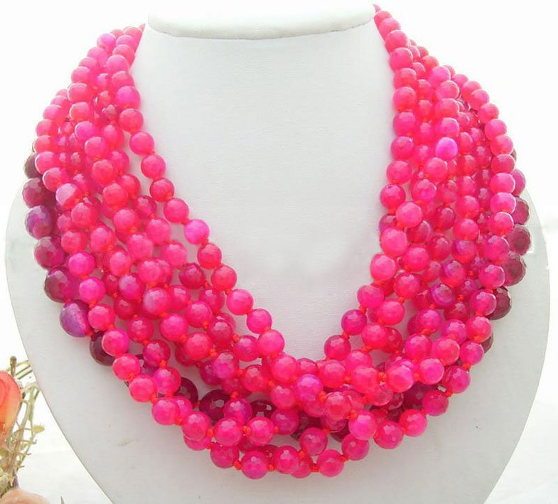 Charming! 8Strds Red Round Onyx Necklace