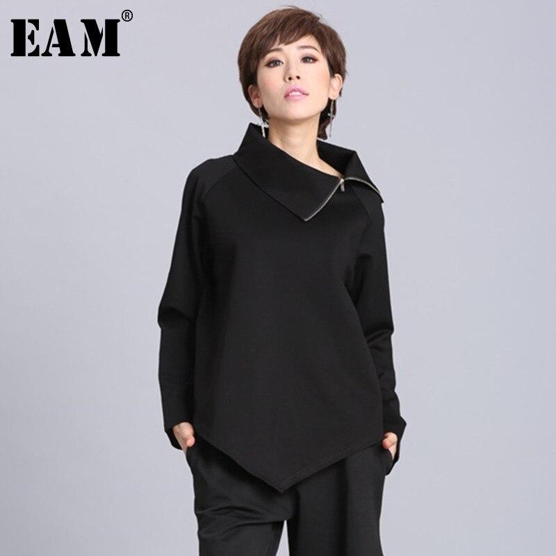 [EAM] 2019New Spring Summer  Black Asymmetric Turtleneck Collar Full Sleeve Casual Zipper Women Fashion Tide Loose OA882
