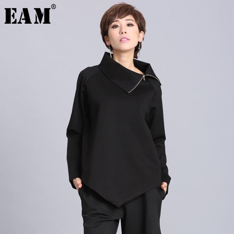 [EAM] 2020New Spring Summer  Black Asymmetric Turtleneck Collar Full Sleeve Casual Zipper Women Fashion Tide Loose OA882