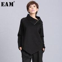 [EAM] 2020New wiosna lato czarny asymetryczny kołnierzyk golf pełna rękaw w stylu Casual, na zamek błyskawiczny kobiety moda fala luźne OA882